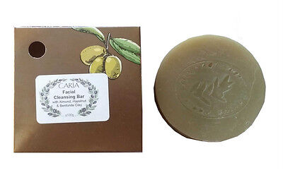CARIA Facial Cleansing Soap Bar with Olive Almond and Hazelnut Oil All Natural