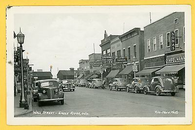 Wisconsin - Eagle River - Wall Street RPPC by Rice-Maid