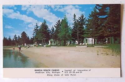 Vintage Huron Beach Cabins Mackinaw City, Michigan Chrome Postcard Unposted 734