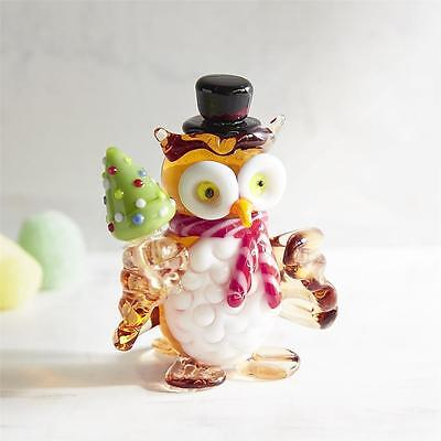 New Glass Collectible Holiday Big Eyed Owl Holding a Christmas Tree Figurine