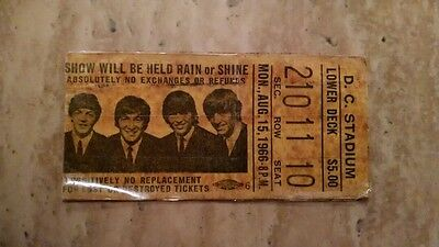 1966 Beatles Original Concert Final Tour Ticket D.c. Stadium August 15Th