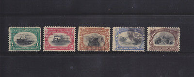 US Stamps - 1901 Pan-American Commemoratives - 5 Different (1c-8c) - Used
