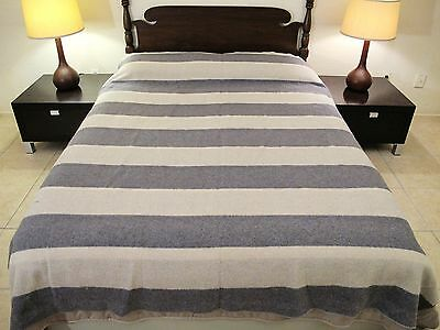 """Vintage """"Hand Tailored From PENDLETON Woolens"""" Striped Blanket w/ OLD Label !"""