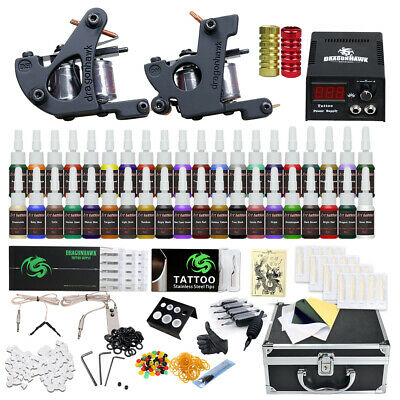 Professional Complete Tattoo Kit 2 Top Machine Gun 40 Color Inks 50 Needles