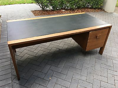 Old State-Rail Leather Top Desk