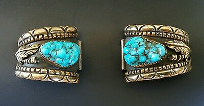 Navajo Artist Julia J. Martinez JJM Brass and Sterling with Turquoise Watch Tips