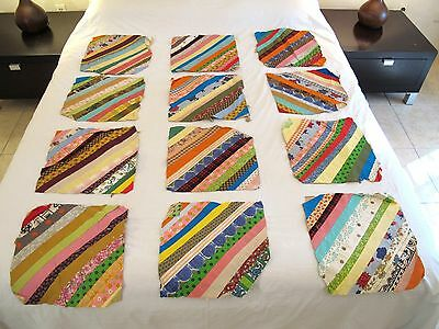 Lot of 12 Vintage 100% Cotton QUILT BLOCKS for STRING QUILT, Striking Colors !