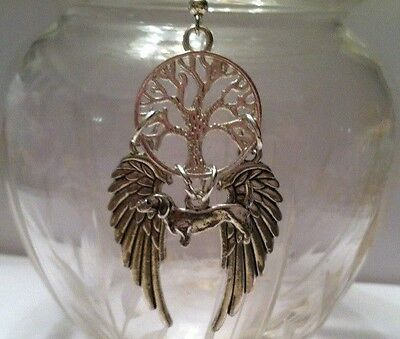 DACHSHUND DOG ANGEL PENDANT Silver, animal pet doxie wings