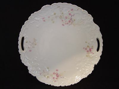 Vintage Porcelain Plate With Pink Floral Design And Cut Out Handles