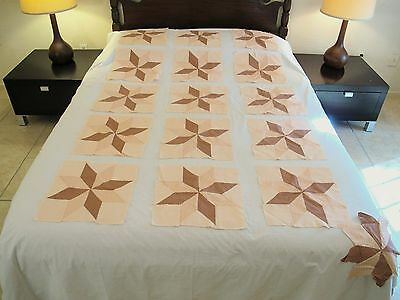 "Lot of 15 Vintage Hand Sewn Cotton QUILT BLOCKS in STAR Pattern; 13"" Square Each"