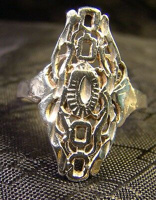 Vintage Sterling Silver Victorian Intricate Pretty Sz 8 Long Finger Ring