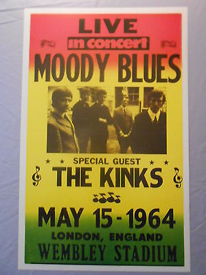 "MOODY BLUES THE KINKS WEMBLEY STADIUM LONDON ENGLAND 1964 CONCERT POSTER 14"" x22"