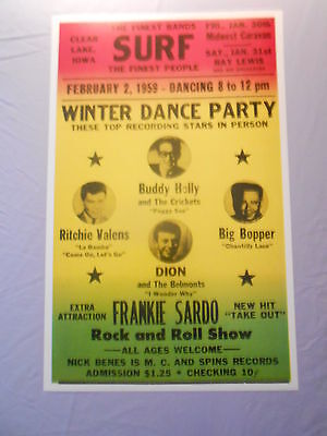 "WINTER DANCE PARTY BUDDY HOLLY FRANKIE SARDO VALENS 1959 CONCERT POSTER 14"" x 22"