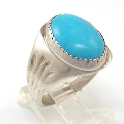 Vintage Sterling Silver Blue Turquoise Southwestern Solitaire Ring Size 10