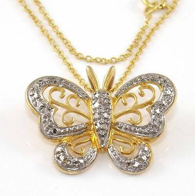 """Sterling Silver Gold Vermeil Diamond Butterfly Pendant Chain Link Necklace 18"""""""