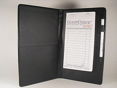 12 Count Black Waitress Pad Holder Guest Check Book Order Pad Book NEW