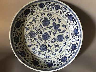 One Nice Chinese Antique Blue&White Porcelain Plate With Put Lotus Flower