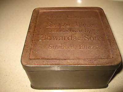 vintage tin Camphor blocks Howards & Sons Stratford Essex Patent Effex embossed