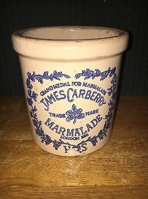 Vintage James Carberry Marmalade Stoneware Crock London 1886 Blue & Cream