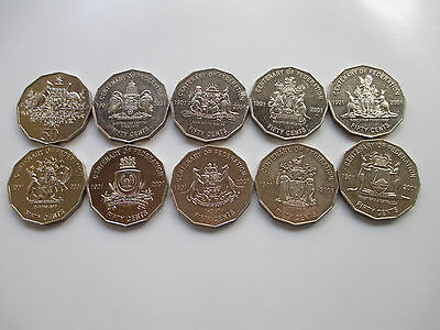1 set of 2001 australian federation 50 cent coins.