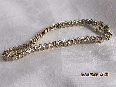 Solid 14K Yellow Gold Tennis Bracelet with Natural Authentic Diamonds