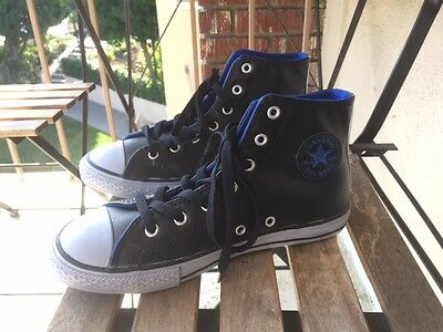Killer! Converse Black Leather Kids Chuck Taylor All Star Shoes. (Black, Blue)