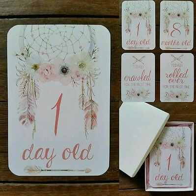 Baby Milestone Cards - Girl - Floral Dreamcatcher