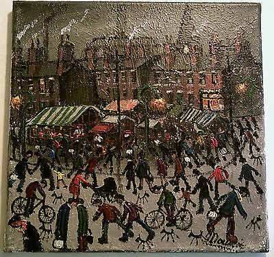 JAMES DOWNIE SIGNED ORIGINAL OIL PAINTING - MARKET DAY mint - invoice