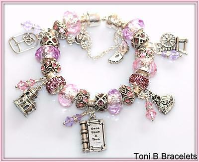 Pink Once Upon a Time Fairy Tale Storybook  Princess European Charm Bracelet