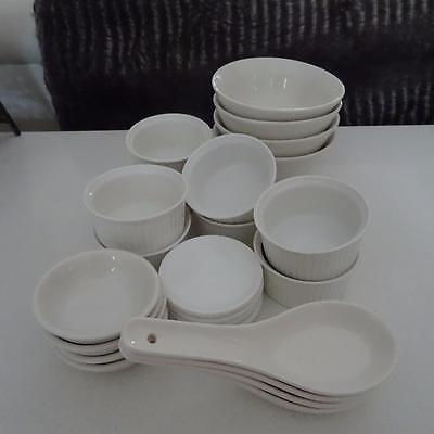 BARGAIN! - 8 White Ramekins- 4 Spoons - 4 Bowls - 4 Butter Dishes - 4 Jam Dishes