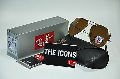 NEW Authentic Ray Ban RB3025 001/57 62mm POLARIZED AVIATOR Gold/Brown lens
