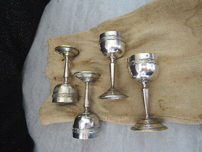 4 French Miniture Antique Silver Plate Goblets with Original Sack