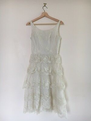 Belvera Fashions Sydney Vintage 1980's White Lace Tiered Ruffled Dress