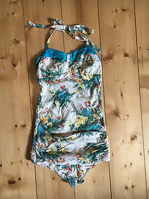 Vintage 1950's Floral Pin Up Bathing Suit One Piece Bathers Leotard sz Small
