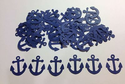 "Nautical Anchors Confetti Lot of 150 Die Cuts in Navy Blue 1"" H"