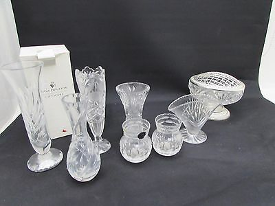 Collection Of 8 Lead Crystal Glass Vases Royal Doulton Thomas Webb & Other