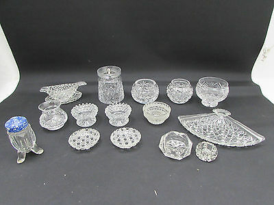 Job Lot Cut Glass & Lead Crystal Condiment Pieces Sauce Boat + Others 1 Tyrone