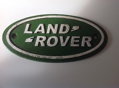 Cast Iron Land Rover Sign Green And White