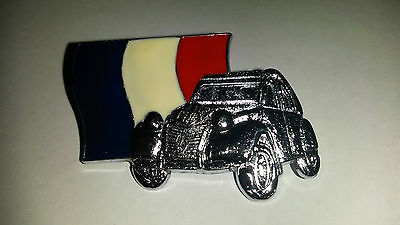 2CV Deux Chevaux Deudeuche CITROEN silver color 3D French flag PIN PIN'S