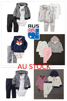 3PCS Newborn Infant Baby Boys Girls Lovely Hoodie+Bodysuit+Pant Outfits Clothes