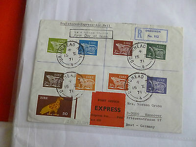 1971 Ireland Eire definitive FDC First Day Cover Registered Express Air Mail #2
