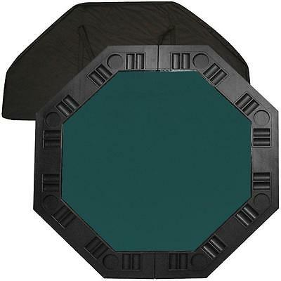 8 Player Octagonal 48 in. Portable Poker Molded Chip Dark Green Felt Table Top