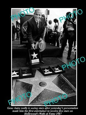 Old Large Historic Photo Of Cowboy Gene Autry At The Hollywood Walk Of Fame 1987