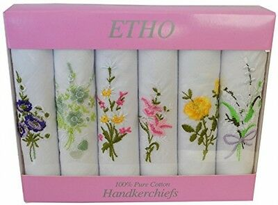 6 Pack Womens/Ladies White Floral Embroidered Handkerchiefs 100% Pure Cotton,