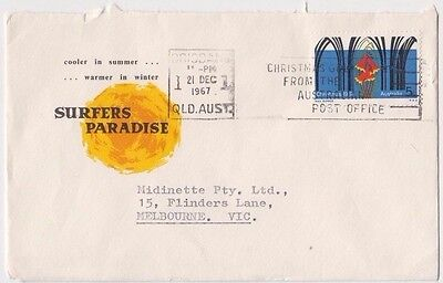 Stamp 5c Christmas on Surfers Paradise Queensland 1967 tourism cover Melbourne