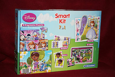 CLEMENTONI Smart kit 7 en 1 puzzle domino mémo quizzy cubes DISNEY princesses