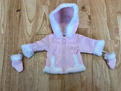 Genuine my london girl pink coat with fur trim and mittens
