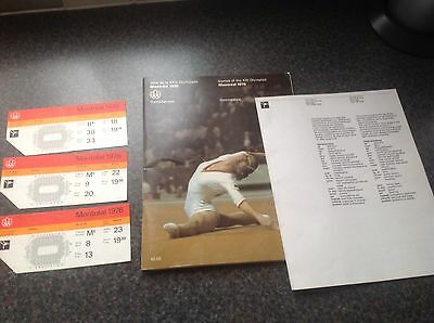 1976 Montreal Olympics Gymnastics Programme And Tickets For Nadia Comaneci 10S