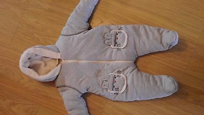 Baby pram suit / all in one Age 3-6 months grey & white
