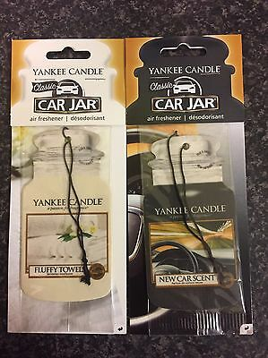 2 Yankee Candle Classic Car Jar Air Fresheners: Fluffy Towels And New Car Scent